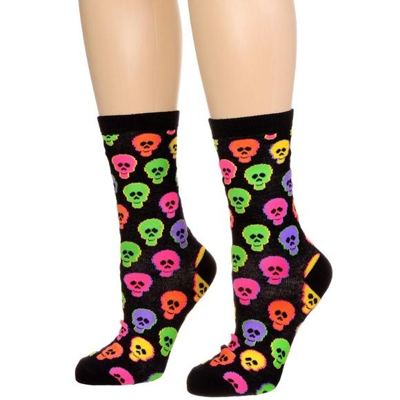 NEW Candy Skulls Crew Socks Punk Goth Halloween
